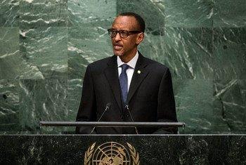 Le Président du Rwanda, Paul Kagamé, devant l'Assemblée générale. Photo ONU/Cia Pak