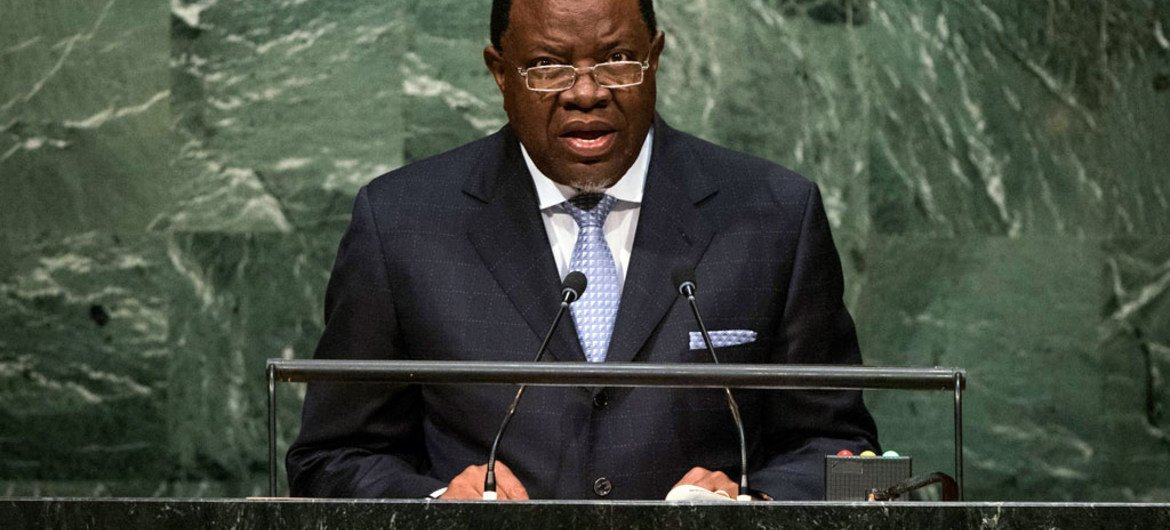 President Hage Geingob of Namibia addresses the general debate of the General Assembly's seventieth session.