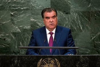 Emomali Rahmon, President of Tajikistan, addresses the general debate of the General Assembly's seventieth session.