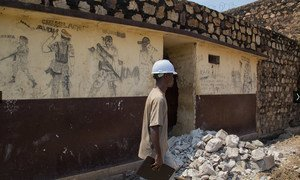 Inspection of rehabilitation work being undertaken by MINUSCA at the Ngaragba prison in Bangui, the Central African Republic (CAR) capital.