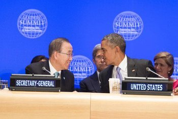 Пан Ги Мун и Барак Обама в ООН Сентябрь 2016 г. Фото ООН/Эскиндер Дебебе