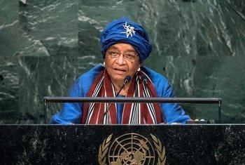 La Présidente du Libéria, Ellen Johnson-Sirleaf devant l'Assemblée générale. Photo ONU/Cia Pak