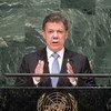 Juan Manuel Santos, presidente de Colombia, en la Asamblea General de la ONU. Foto de archivo: ONU/Kim Haughto