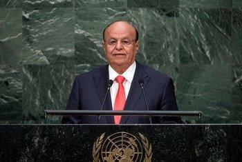 Le Président du Yémen, Abdrabuh Mansour Hadi, devant l'Assemblée générale. Photo ONU/Cia Pak