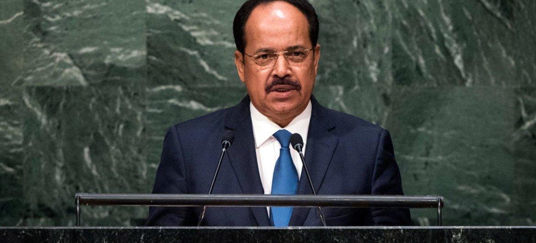 Le Ministre des affaires étrangères de la Mauritanie, Hamadi Ould Meimou devant l'Assemblée générale. Photo ONU/Cia Pak