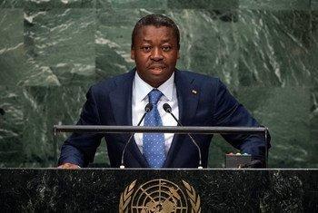Le Président du Togo Faure Essozimna Gnassingbé devant l'Assemblée générale. Photo ONU/Cia Pak