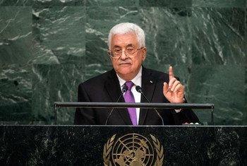 Le Président de la Palestine, Mahmoud Abbas, devant l'Assemblée générale. Photo ONU/Cia Pak