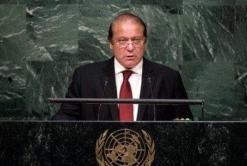 Le Premier ministre du Pakistan, Muhammad Nawaz Sharif, lors du débat général de l'Assemblée générale des Nations Unies. Photo : ONU/Cia Pak