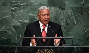 Prime Minister Josaia V. Bainimarama of Fiji and Commander of the Fiji Military Forces addresses the general debate of the General Assembly's seventieth session.