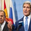 俄罗斯外长拉夫罗夫与美国国务卿克里资料图片。联合国图片/Rick Bajornas