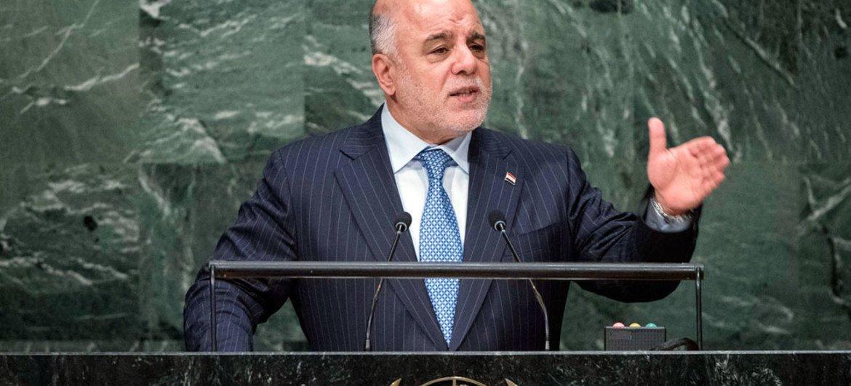 Le Premier ministre d'Iraq, Haider Al-Abadi, devant l'Assemblée générale. Photo ONU/Amanda Voisard