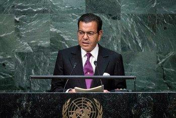 Le Prince Moulay Rachid du Maroc devant l'Assemblée générale. Photo ONU/Amanda Voisard