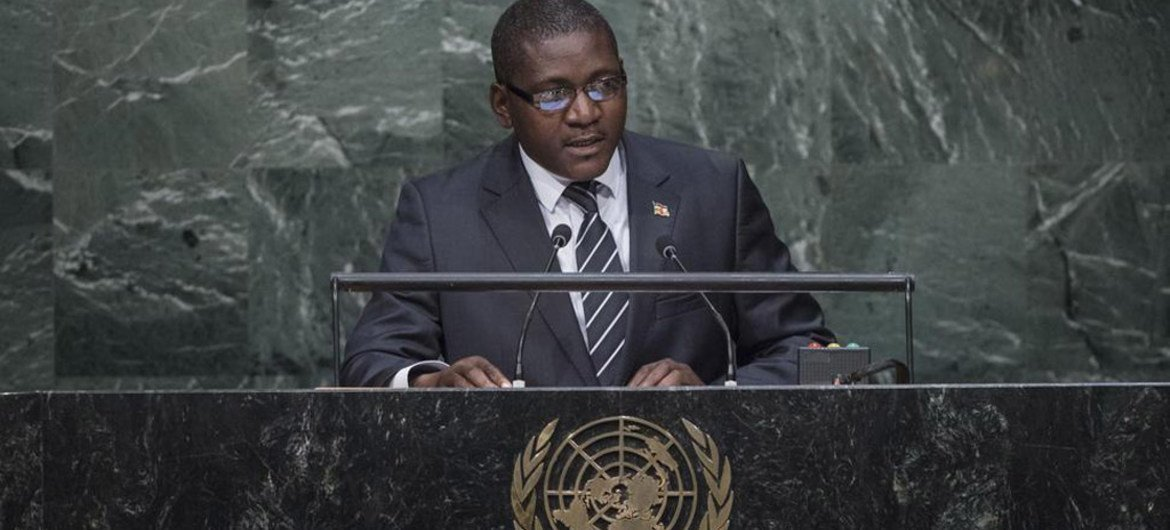 Foreign Minister Samuel Rangba of Central African Republic addresses the general debate of the General Assembly's seventieth session.