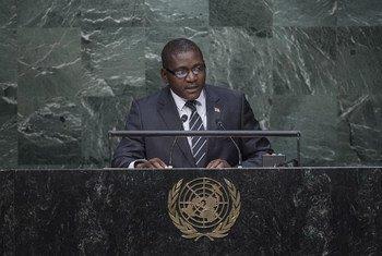 Le Ministre des affaires étrangères de République centrafricaine, Samuel Rangba, devant l'Assemblée générale. Photo ONU/Amanda Voisard