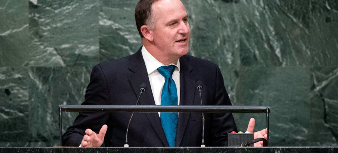 Prime Minister John Key of New Zealand addresses the general debate of the General Assembly's seventieth session.