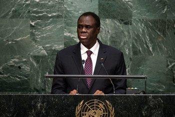 Le Président du Burkina Faso, Michel Kafando, devant l'Assemblée générale. Photo ONU/Cia Pak