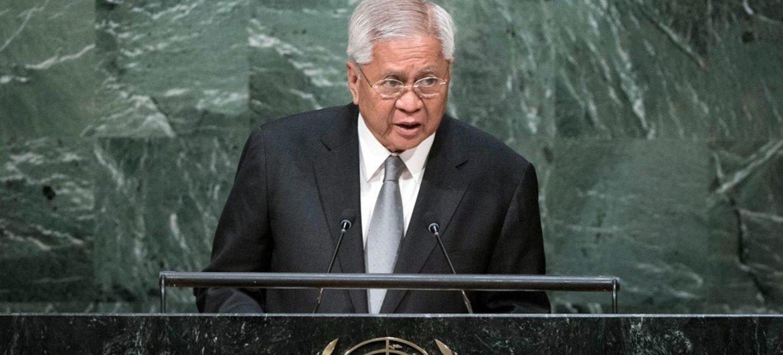 菲律宾外长罗萨奥在联大一般性辩论中发言。联合国图片/Kim Haughton