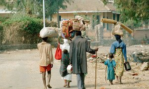Rwandan refugees, who fled the genocide, returning in July 1994 from Goma, Zaire, (now the Democratic Republic of Congo, DRC).