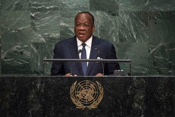 Foreign Minister of Guinea, François Lounceny Fall, addresses the general debate of the General Assembly's seventieth session.