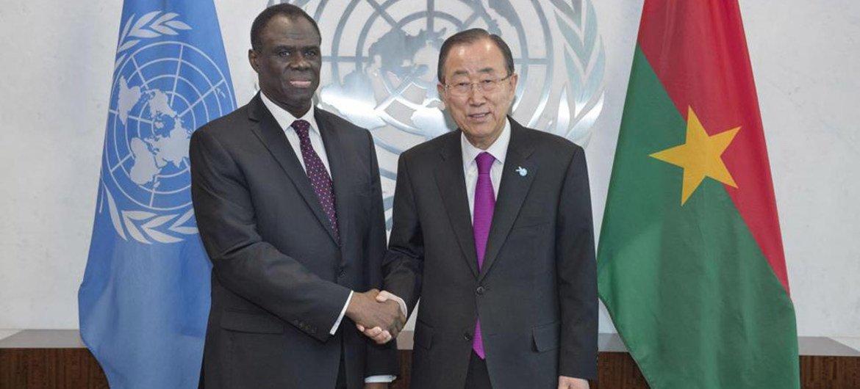 Secretary-General Ban Ki-moon meeting with Michel Kafando, Transitional President, Burkina Faso.