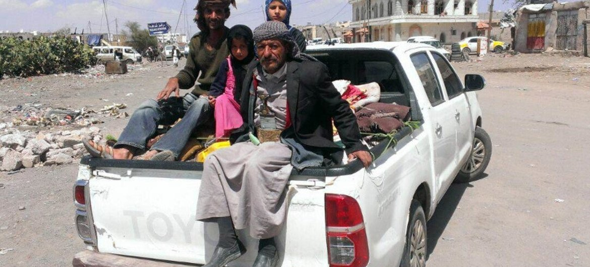 Yemenis flee the capital Sana'a with their families and few possessions.