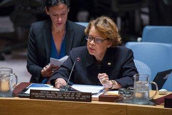 La Représentante spéciale du Secrétaire général pour Haïti et cheffe de la Mission des Nations Unies pour la stabilisation du pays (MINUSTAH), Sandra Honoré, devant le Conseil de sécurité de l'ONU. Photo : ONU / Amanda Voisard