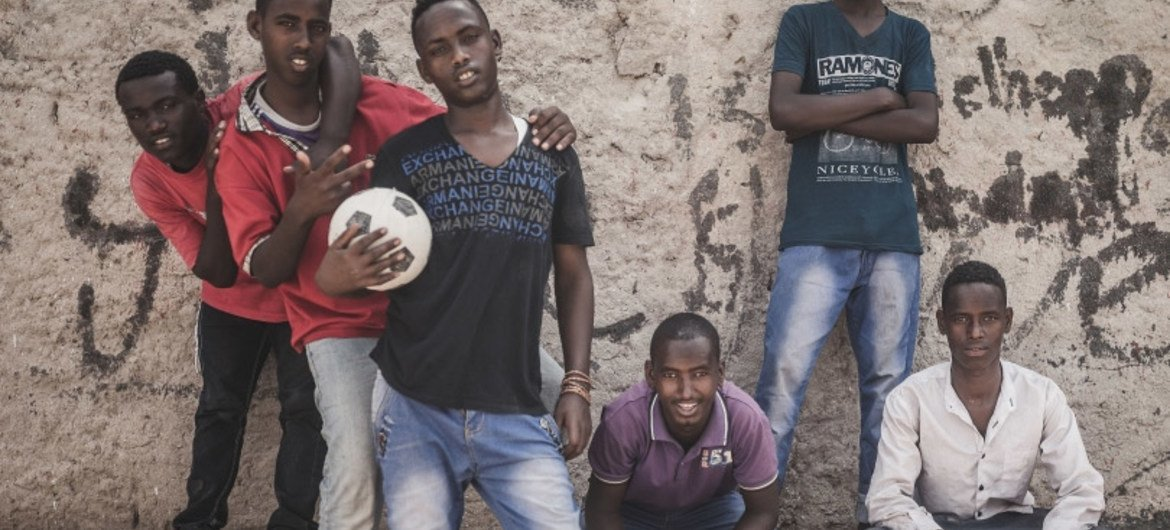 A group of young men in Somaliland's capital, Hargeisa, take a break from an informal football match. Youth unemployment in Somaliland is among the highest in the world at between 60 and 70 per cent.