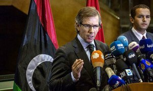 Special Representative for Libya Bernardino León speaks at a press conference in Skhirat, Morocco.