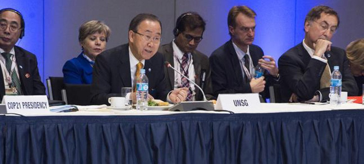 Secretary-General Ban Ki-moon (second left) speaks at Climate Finance Ministerial lunch in Lima, Peru.