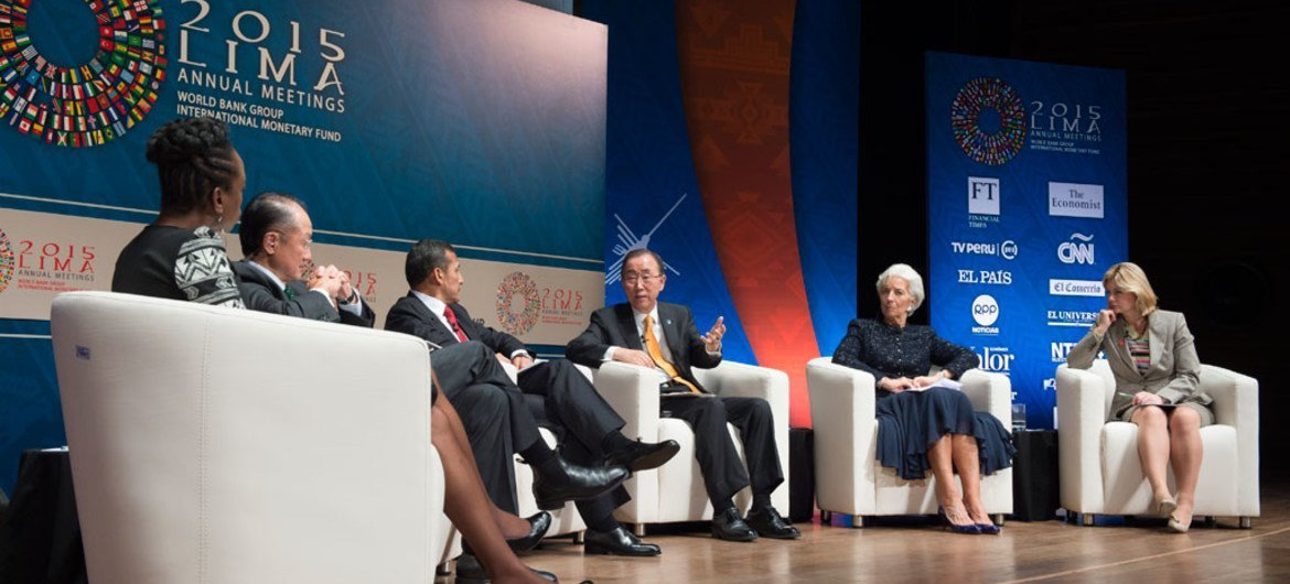 """Secretary-General Ban Ki-moon delivers speech at Interactive Panel Discussion entitled """"From Today to 2030"""". The event is part of the 2015 Annual Meetings of the Boards of Governors of the World Bank Group (WB) and the International Monetary Fund (IMF) in Lima, Peru."""
