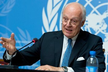 United Nations Special Envoy for Syria Staffan de Mistura briefs the press on the latest developments in the country.