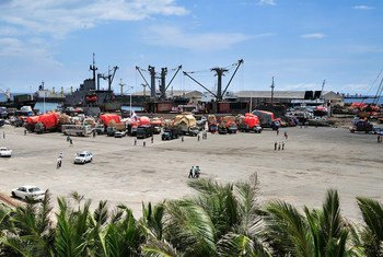 Somalia's seaport bustles with business as trucks come to off load ships of their cargo.
