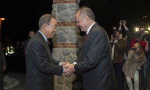 Secretary-General Ban Ki-moon meets with the President of Slovakia, Andrej Kiska, during a visit to the country on 18 October 2015. UN