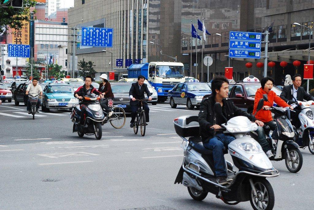 中国上海街头。