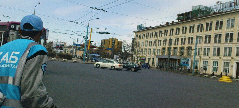 Managing traffic in central Ulaanbaatar, Mongolia.