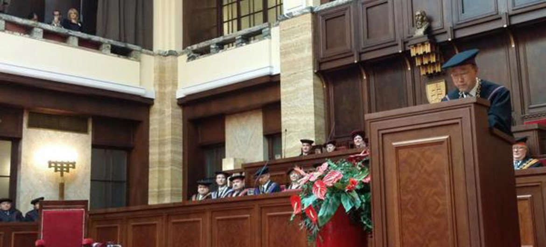 Secretary-General Ban Ki-moon speaks at Comenius University in Slovakia after receiving honorary doctorate.