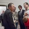 Secretary-General Ban Ki-Moon and Mrs Ban with a Syrian family on their visit to Humanitarian Centre in Gabcikovo, with Mr. Robert Kalinak, Deputy Prime Ministrer and Minister of Interior and Mrs. Johanna Mikl-Leitner, Minister of Interior of Austria