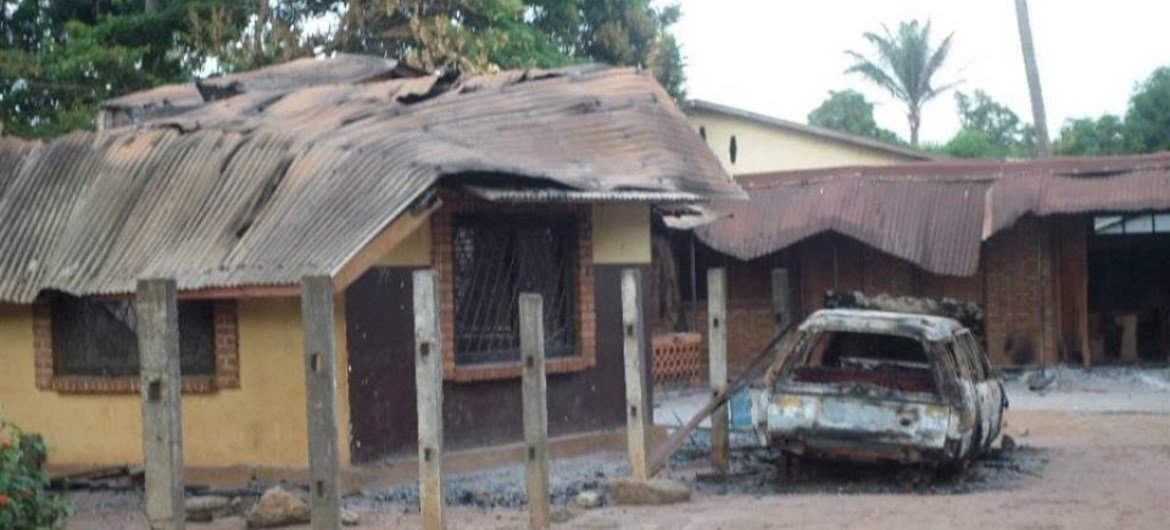 The St Michel church and adjacent priest's house were torched during protests in Bangui sparked by the killing of a Muslim man.