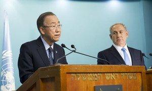 Secretary-General Ban Ki-moon (left) and Prime Minister Benjamin Netanyahu of Israel at a press briefing in Jerusalem.