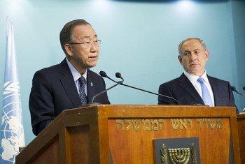 潘基文秘书长与以色列总理内塔尼亚胡会晤资料图片。联合国图片/Rick Bajornas