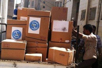 L'OMS a fourni 30 tonnes de médicaments au gouvernorat de Taëz au Yémen pour aider 600.000 personnes, y compris 250.000 résidents de la ville de Taëz. Photo OMS Yémen