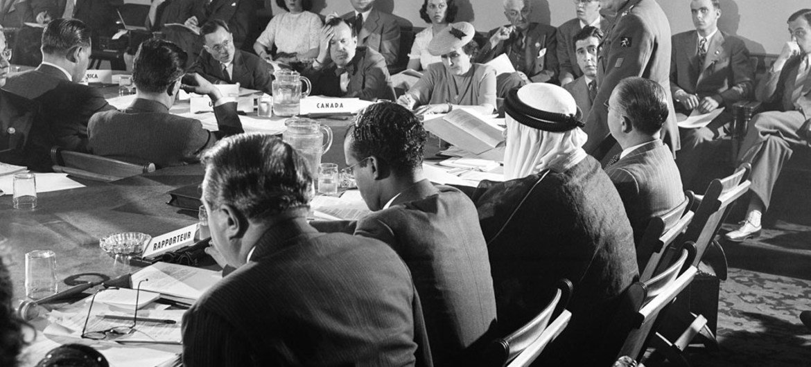 In 1945, delegates meet in San Francisco to negotiate a charter for the organization that was to become the United Nations. Standing is Lieutenant Colonel Henri Rolin of Belgium.