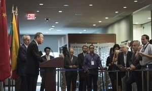 Secretary-General Ban Ki-moon addresses the press at the Security Council stakeout on the situation in the Middle East.