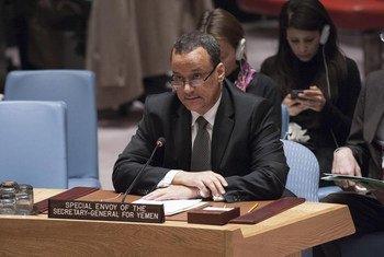 L'Envoyé spécial du Secrétaire général des Nations Unies pour le Yémen, Ismail Ould Cheikh Ahmed, au Conseil de sécurité de l'ONU. Photo : ONU/Kim Haughton