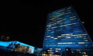 UN Headquarters in New York lit up blue for two nights, beginning 23 October when the annual UN Day concert is held, and concluding on 24 October, celebrated as UN Day since 1948.