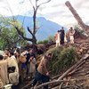 Residents view devastation caused by the earthquake in Shangla District, in the Khyber-Pakhtunkhwa province of Pakistan on 26 October 2015.