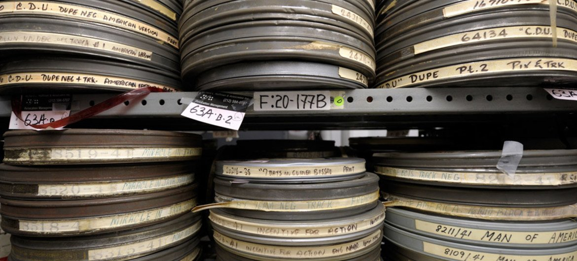 Stacks of film reels in the Department of Public Information (DPI) audiovisual archives at UN Headquarters.
