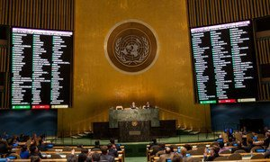 The General Assembly adopted for the twenty-fourth consecutive year a resolution calling for an end to the United States economic, commercial and financial embargo on Cuba. A tally of the vote is displayed electronically on two screens.