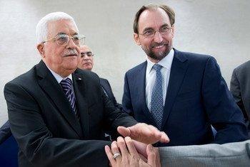 人权高专扎伊德与巴勒斯坦总统阿巴斯。联合国图片/Jean-Marc Ferré