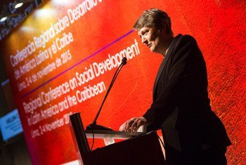 UNDP Administrator, Helen Clark, addresses the Regional Conference on Social Development in Latin America and the Caribbean, in Lima, Peru.